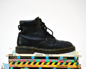 SALE Amazing 90s Black Dr. Martens Boots Size Women 6 // Vintage Doc Marten Black Boots UK Size 4 Made in England