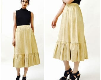 Vintage Tan Suede Leather Skirt Prairie Skirt Midi Camel tan leather skirt Size Small Rodeo cowgirl boho