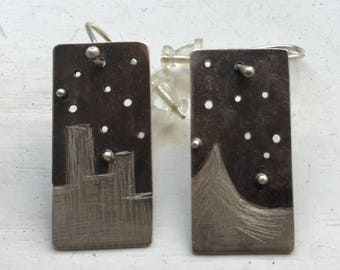 Sterling Silver dainty drop dangle modernist earrings, everyday earrings, night sky landscape doodle earrings, mismatched different, square