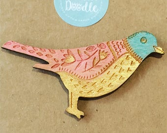 Hand Painted Wooden Bird Brooches