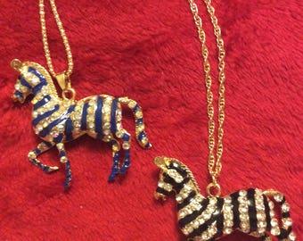 zebra crystal charm necklace big/Black or blue sparkly