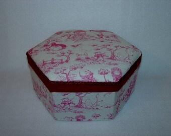 Trinket Box, Cloth Covered, Burgundy Toile Box