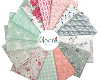 Blush Pink Nursery Fabric, Art Gallery Low Volume Fabric Bundle, Woodland Fabric for Baby, Vintage Chic Nursery, Shabby Chic, Rustic Nursery