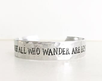 Not All Who Wander Are Lost, Travel, Travel Gifts, Inspirational, Inspirational Quotes, Wanderlust, Nautical Bracelet, Compass Jewelry