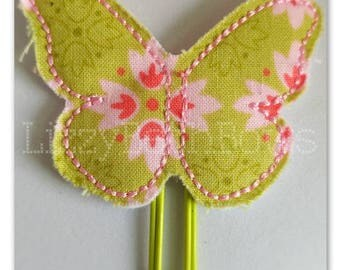 Beautiful green butterfly Planner clip, bookmark, planner bow clip, bow bookmark,  pink lime green dark pink floral design butterfly