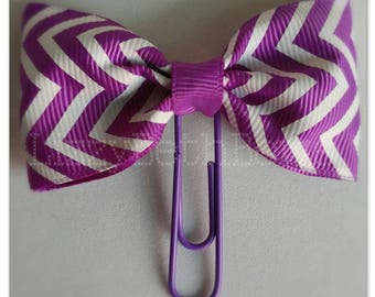 Purple & White Chevron Planner clip, bookmark, planner bow clip, bow bookmark, purple white zig zag