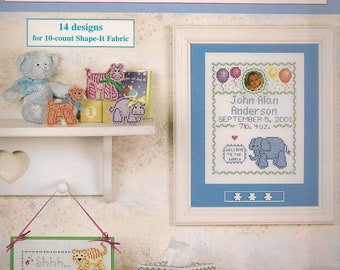 Cross Stitch Patterns Baby Animals 10-count With Shape-It Fabric 16 Cross Stitch Patterns Leaflet