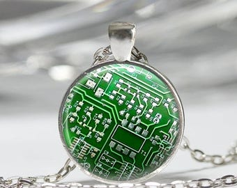 ON SALE Geek Jewelry Computer Necklace Green Circuit Board Computer Chip Art Pendant in Bronze or Silver with Link Chain Included
