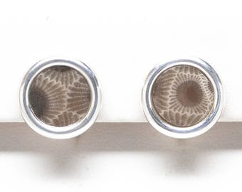 Clip On - Petoskey Stone Sterling Silver 10 mm Round Earrings