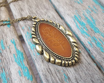 Antique Gold and Leather Necklace- Antique Gold Oval Pendant