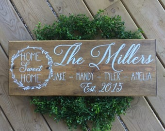 Personalized Sign, Family Name Sign, Rusitc Sign, Farmhouse Sign Personalized, Personalized Gifts, Wedding Gift, Christmas Gift, Home Sign