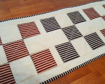 Quilted July 4th or Americana Table Runner, Mat or Wall Hanging; Red, Cream and Blue Cotton Striped Fabrics Great Patriotic Feel