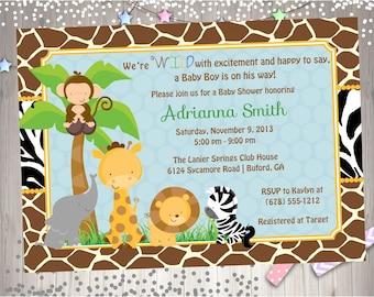 Safari Baby Shower Invitation Jungle Baby shower invitation Zoo Animal Baby Shower DIY Printable Digital