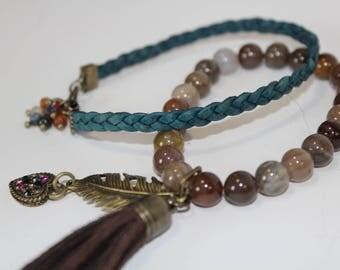 Stone and Leather Bracelets