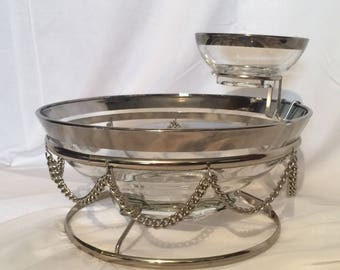 Chip and Dip Bowl, Silver Band, Metal Chain Basket, Serving Bowl, Mid Century, Vintage glass