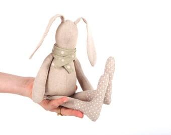 Easter bunny , SMALL Baby doll , plush rabbit , softie stuffed toy , rabbit rag doll , rabbit cloth doll , baby gift ,Handmade Doll Cuddling