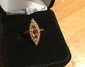 Antique Gold, Garnet and Seed Pearl Navette Ring
