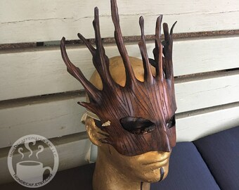 Earthy brown Dryad Mask - Handmade Leather Tree Spirit Druid Warrior Fantasy Mask