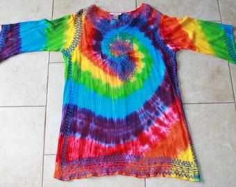 Tie Dye Rayon Dress | Size XL