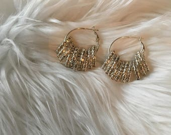 Basketball wives elegant fringe shiny hoop earring jewelry