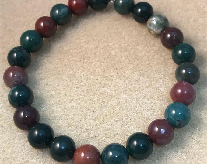 Bloodstone Bracelet, 8mm Bracelet, Stretch Bracelet, Bead Bracelet, Beaded Bracelet, Gemstone Bracelet, Yoga Bracelet, Heliotrope Bracelet