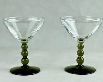 Vintage Set of Four NOB HILL 3-Ball Olive Green Stem Liquor Cocktail Glasses by Libbey, Circa 1960's