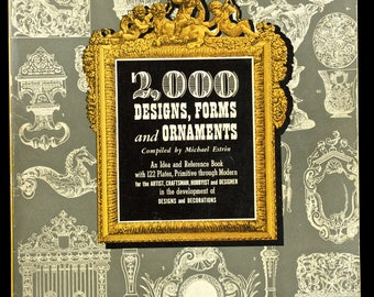 2000 DESIGNS, FORMS and ORNAMENTS Vintage Book of Designs, Soft Back 1st Ed, O. P., 1947
