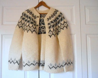 Vintage chunky wool Knit Nordic cardigan Sweater