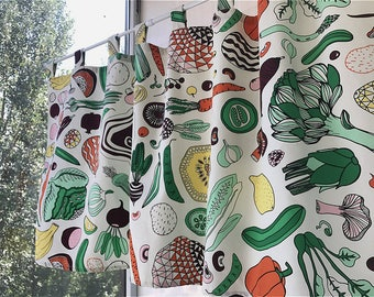 Cafe Curtain Window Valance/Window Treatment Topper/Kitchen/Bathroom/Kids Nursery Living Room Curtain Panel---Fruits Vegetables,FREE GIFT