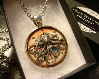 Silver Octopus over Compass Steampunk  Inspired Pendant Necklace (2423)