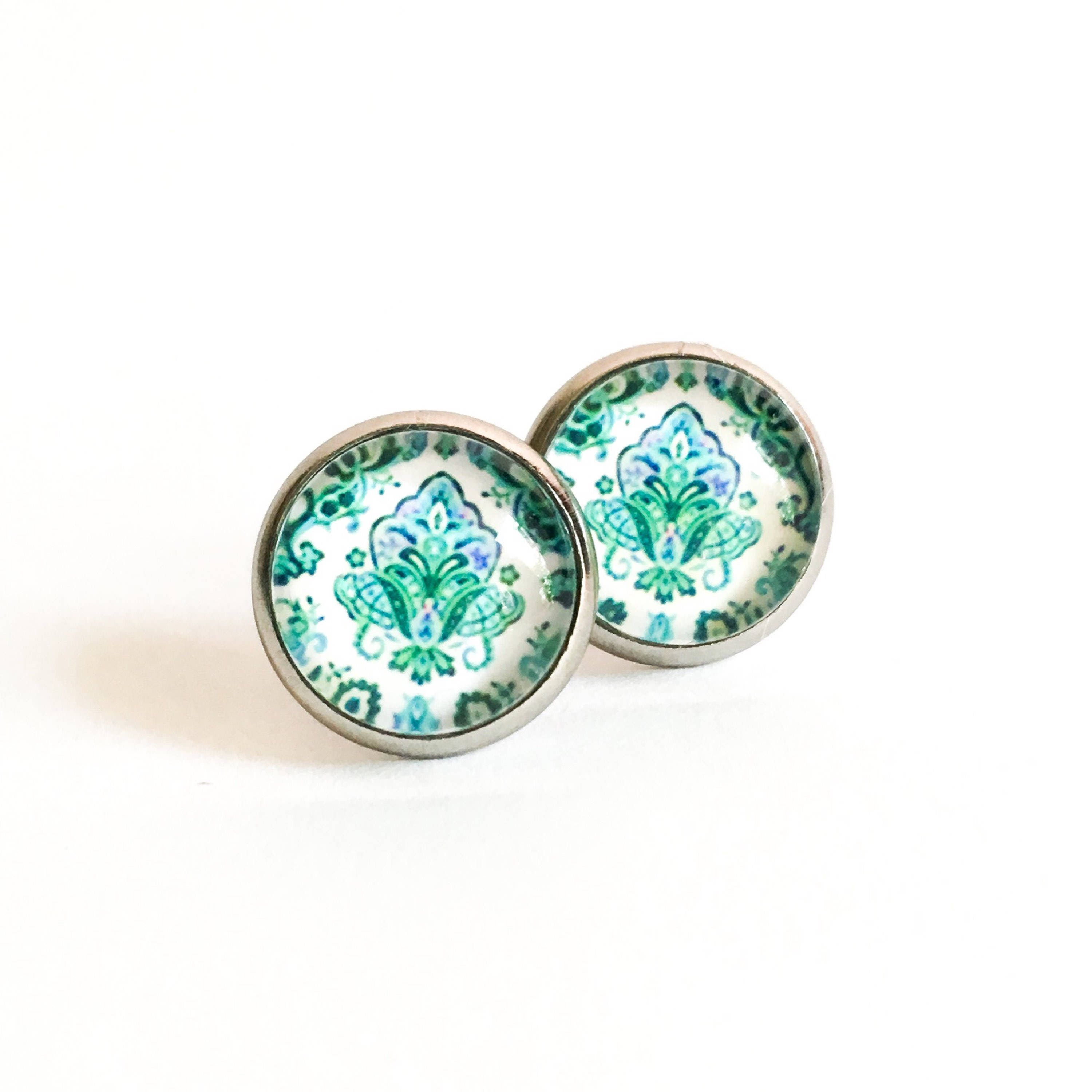 stud turquoise faux gleeful collections peacock earrings products