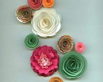 Spring Handmade Paper Flower Mix, Mint, Pink, Oranges and White