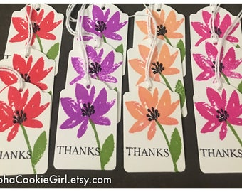 Handmade Thank You Tags Pink Purple Red Orange Flowers Hand Stamped Customer Thank You Teacher Gifts set of 12