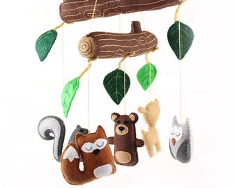 Woodland Mobile Sewing Pattern, DIY Woodland Nursery Mobile, Hand Sewing Pattern, Felt Woodland Baby Mobile, Nursery Decor
