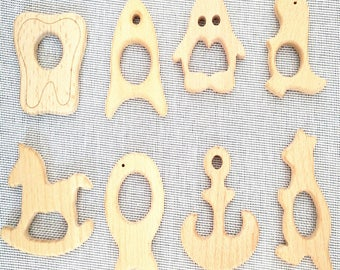 1 pc  Natural Wood Teether. High-Quality Unfinished Wood Teething Toy/Pendant. DIY Supplies for Eco-friendly Safe Teething Necklace.
