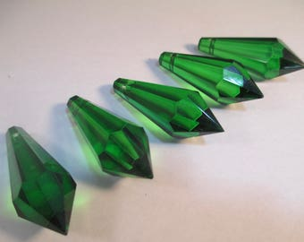 Green prisms etsy 5 38mm green icicle chandelier crystals 38mm icicle u drop crystals 38mm green mozeypictures Image collections