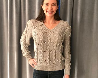 Vintage 1980s LILLIE RUBIN metallic silver & peal knit sweater, size Small