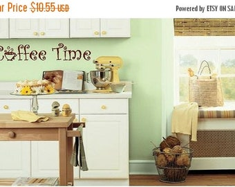 20% OFF CoffeeTime- Vinyl Lettering wall words quotes graphics decals Art Home decor itswritteninvinyl