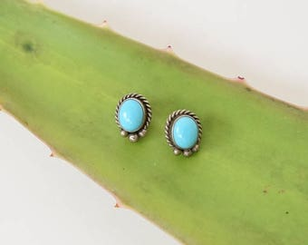 MAY SALE Turquoise Sterling Silver Studs