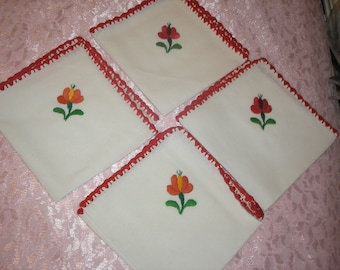 Estate;Eight Dinner Napkins W/Flower and Red Corchted Border