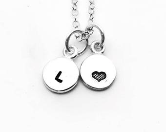 Mini Initial Necklace with Heart, Sterling Silver, Tiny Initial, Hand Stamped Jewelry, Heart Necklace, Letter L Necklace, All Letters Avail