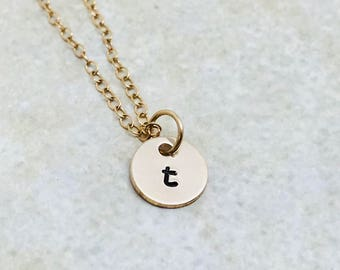 Initial Necklace, Gold, Letter t Necklace, Choose your letter, Personalized Jewelry, Lower Case, Hand Stamped Jewelry, Mother's Necklace