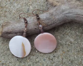 White circle shell earrings with copper plated hooks- rose tones