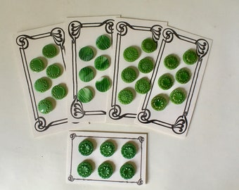 Six Vintage Kelly Green Glass Buttons for Sewing and Crafts