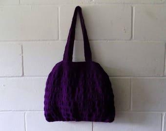 Purple Handbag. Hand Knitted Purple Tote Bag.