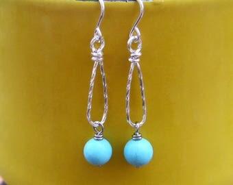 Turquoise Earrings Sterling Silver Teardrop Hoops with Beads Blue Gemstone Dangles Silver Drop Earrings Wire Jewelry December Birthstone