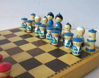 Kokeshi Chess Set in Wooden Case - Inlaid Storage Wood Box Converts to Chessboard