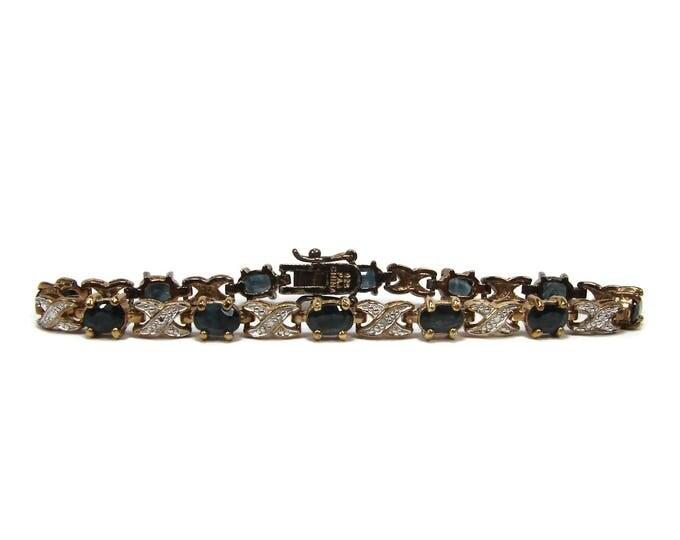 Estate Sterling Silver Sapphire Tennis Bracelet