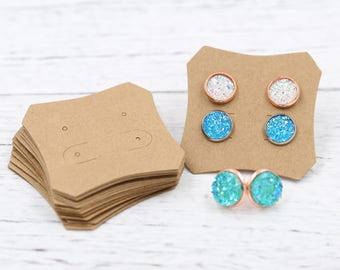 Earrings Cards, Display Card, Craft Chipboard Earring Packaging for Handmade Jewelry Sellers,  Square Display Card 50x50mm