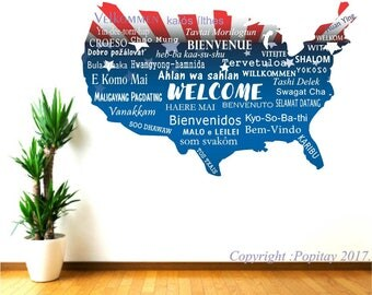 Welcome Wall Decals, USA Map decal, welcome languages, school office welcome, library welcome sign, classroom decor,  airbnb wall decor,